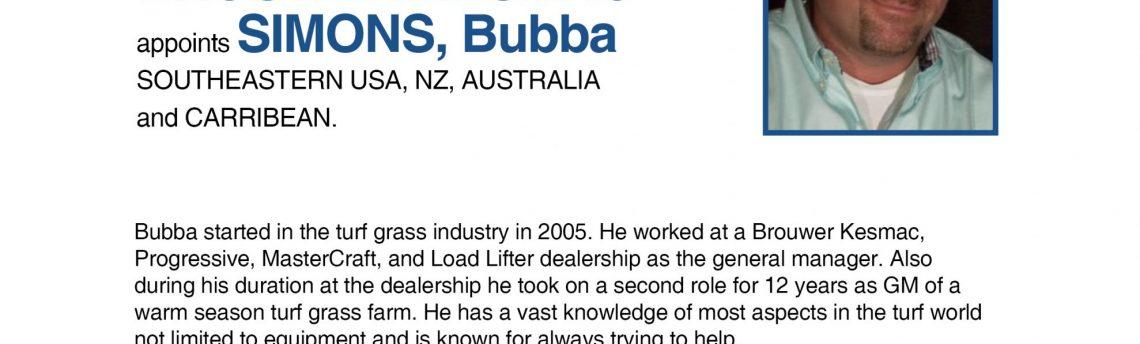 BROUWER KESMAC  appoints SIMONS, Bubba  SOUTHEASTERN USA, NZ, AUSTRALIA and CARRIBEAN.